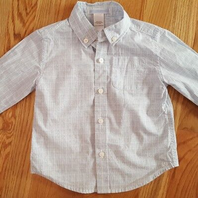 JANIE & JACK Toddler Baby Boy Shirt Size 12-18 mo White Blue Plaid Cotton EUC
