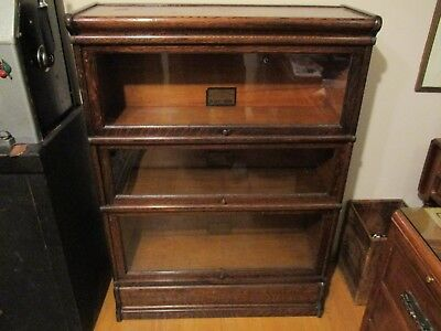 vtg. old antique The Globe Wernicke Co. 3-tier Lawyers library bookcase