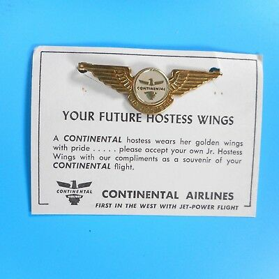 VTG 60s Continental Airlines Jr Hostess Wings Stewardess Flight Attendant MCM
