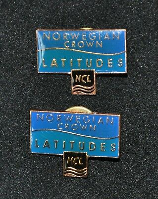 2 Vintage Norwegian Cruise Line NCL Crown Latitudes Ship Souvenir Pins Lapel Hat