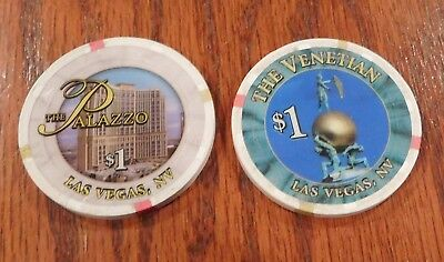 Two $1 Poker Chips The Palazzo The Venetian  Las Vegas, Nevada PRE-OWNED USED