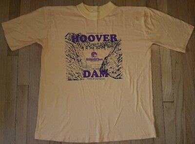 Vintage 80s HOOVER DAM shirt XL Texas Best Nevada Arizona yellow hipster 80s