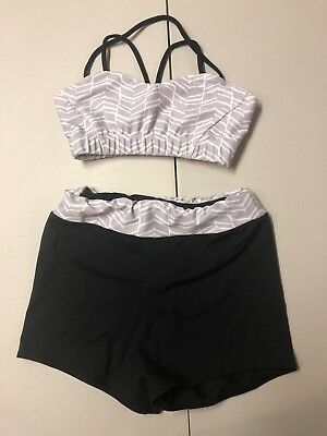 Purple Pixies Girls Dance Gymnastics Outfit child small two Piece Top And Shorts