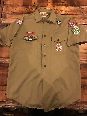 Vintage BSA Eagle Boy Scout Uniform w Mega Patches Espanol LXL Scoutmaster