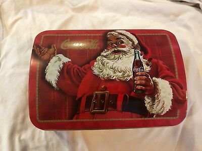 Coca Cola Christmas Chest Tin w/ 2 Decks Playing Cards