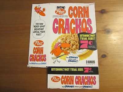 "Vintage 1968 Corn Crackos Cereal Box, Approx. 8 1/2"" T x 6 1/2"" W, No Top Flap"