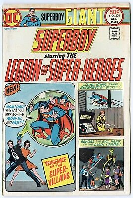 Superboy #208 VF/NM 9.0 ow/white pages  Legion of SH  DC Giant  1975  No Reserve