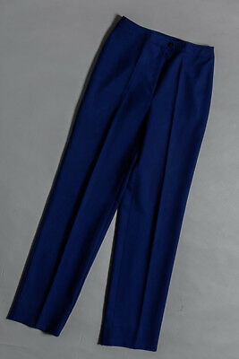 Vintage 1970s high waisted pants, navy blue with front zip, wool blend