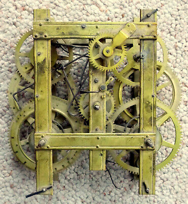 Antique Strap Brass Type 8-Day Time & Strike Weight Driven Clock Movement