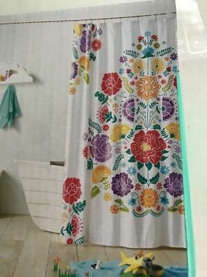 Floral Fiesta Bathroom Shower Curtain White W Multicolored Flowers 72