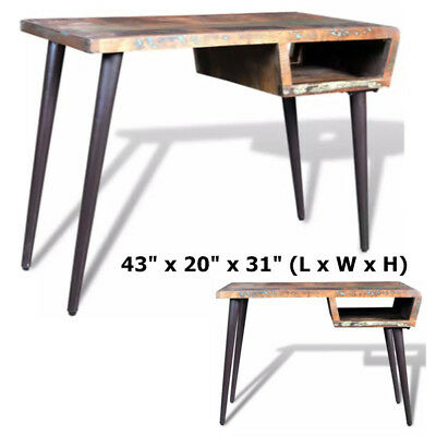 Reclaimed Wood Desk with Iron Pin Legs Shabby Vintage Rustic Antique Table Home