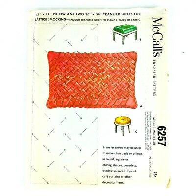 Vintage McCalls 6257 Smocked Transfer Pattern 1960s Chair Pillows Curtains PA246
