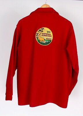Sz. Xl Auth. Vtg 1969 Boy Scouts Of America Red Wool Jacket Idaho Jamboree Patch