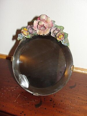 Antique FRENCH ITALIAN  Hand Carved and Painted Wood Vanity Mirror