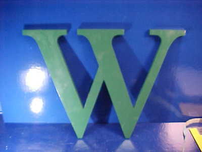 "1950s INDUSTRIAL METAL Green Sign LETTER -"" W "" Nice To Decorate With 16 x 13"
