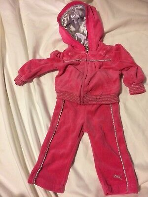 Girls Pink 6 - 9 months Toddler Puma Tracksuit Velour W/ Silver Satin Accents