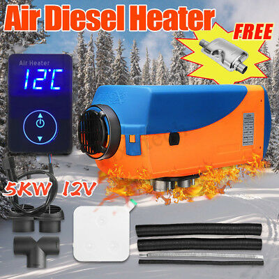 5000W 12V Diesel Air Heater Digital Switch 10L Tank Silencer for Car