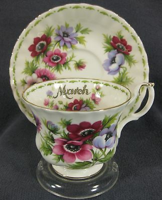 Royal Albert Flower Of Month March Anemones Tea Cup Saucer Set