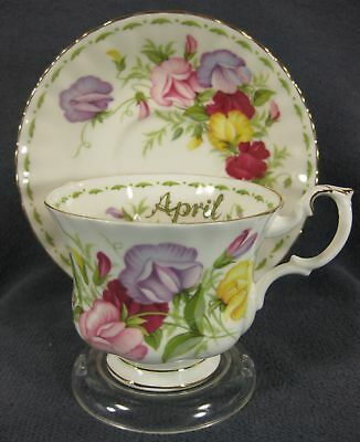 Royal Albert Flower Of Month April Sweet Pea Tea Cup Saucer Set