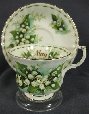 Royal Albert Flower Of Month May Lily Of The Valley Tea Cup Saucer Set