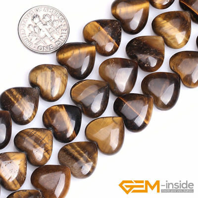 """Natural Gemstone Tiger's Eye Heart Shape Loose Beads For Jewelry Making 15"""" YB"""
