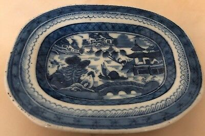 Old Antique 19th Century Chinese Canton Export Blue & White Porcelain Plate