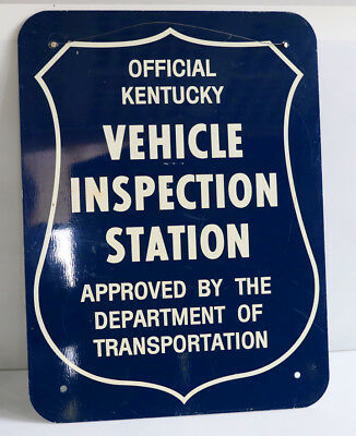 1960s KY Vehicle Inspection Station Sign with Shield   2-sided auto car