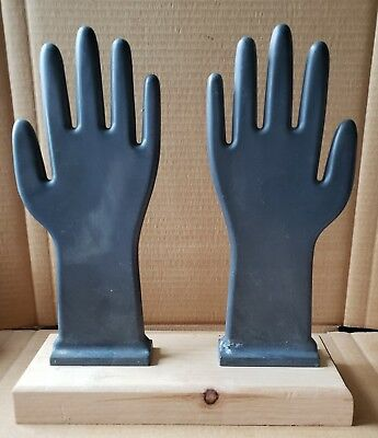 Pair Of Vintage Industrial Glove Mold Hands On Reclaimed Wood Stand (01Eb)