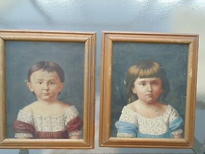 Pair of Antique 18th Century Children Portraits on Canvas American Folk Art