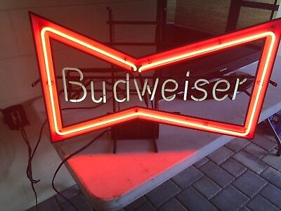Vintage BUDWEISER Beer Bow Tie Neon Bar Advertising Sign RARE!