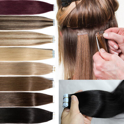 8A Russian 100G Tape In Thick-Glue Remy Real Human Hair Extensions UK STOCK M931
