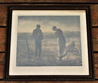 """Antique Framed Lithograph Print Titled """"The Angelus"""" By J.F. Millet (Jean Franco"""