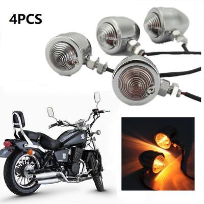 4x CL Chrome Heavy Duty Motorcycle Bullet Turn Signals Indicator Blinkers Light