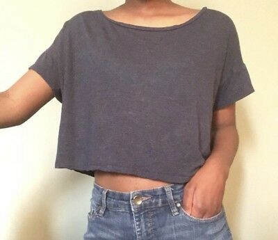 89791610f1bd7 FOREVER 21  NO Guts No Glory  Short Sleeve Blue White Crop Top (S Sm ...