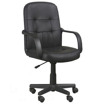 Leather Task Office Chair Computer Desk Swivel Executive Adjustable Black
