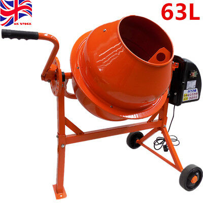 Portable Electric Cement Mixer 63L 250W Concrete Mortar Mixing Machine 240V NEW