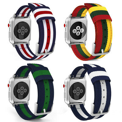 Woven Nylon Watch Band Strap For Apple iWatch Series 4 44mm 40mm Fashion Colored