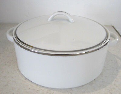 BHS Platinum Vegetable Serving Dish Tureen Porcelain White And Silver Tableware