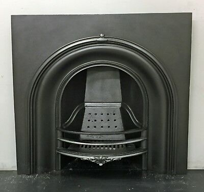 "Large Antique Victorian Cast Iron Arched Insert Fireplace 39"" x 39 1/2"""
