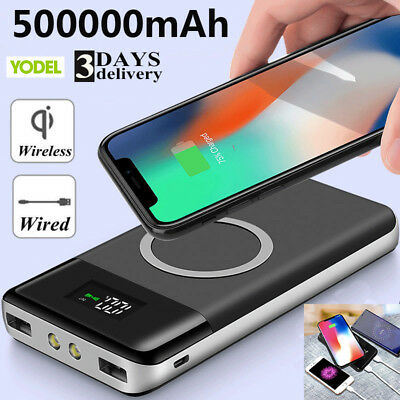 500000mAh Qi Wireless Power Bank Dual-USB Battery Charger with LCD Display & LED