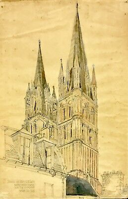 RCA blind Stamped ESK Architectural Drawing Abbey Caen J Harold Gibbons 1904