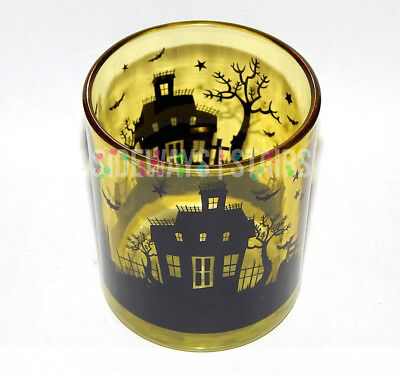 HAUNTED HOUSE YELLOW GLASS CANDLE HOLDER halloween votive cemetery bats horror
