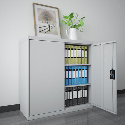 Office Storage Cupboard Sturdy 2 Doors Steel Filing Cabinet Organizer Grey UK