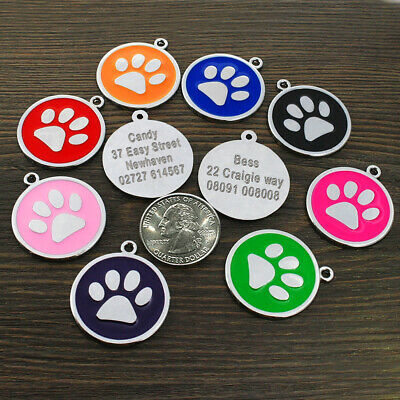 Cute Paw Print Personalised Engraved Dog ID Tags Round Cat Name Plate Tag Disc