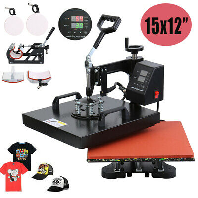 "15""X12"" 5 in 1 Heat Press Machine Transfer Sublimation T-Shirt DIY Swing-away"