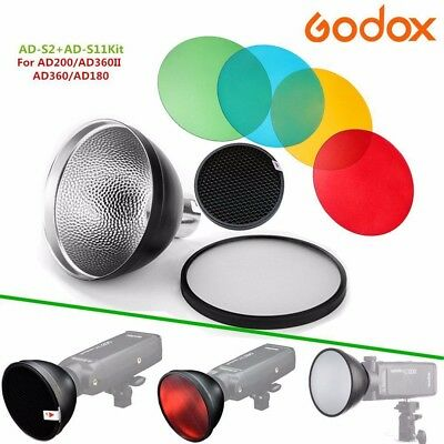 Fomito Godox AD-S11 Color Filter Gel Pack with AD-S12 Honeycomb Grid Cover Reflector for Witstro Flash AD200 AD360II AD180 AD360