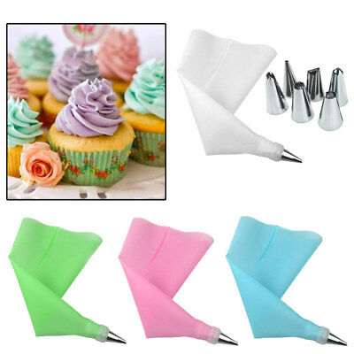 8 PCS/Set Silicone Icing Piping Cream Pastry Bag and 6 x Stainless Steel Nozzle