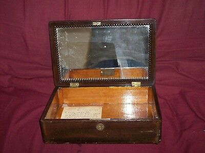 Antique Handmade (1834) Wooden Box with Vanity Mirror Has Handwritten Provenance