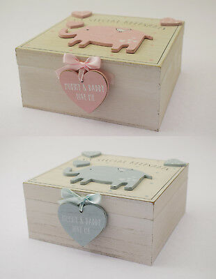NEW Baby Boy Girl Wooden Memories Keepsake Memory Box Vintage Style Newborn Gift