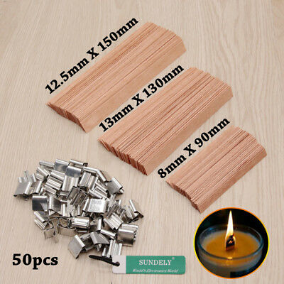 50x Wood Gift Candles Core Wick Candle Making Supplies with Iron Stands